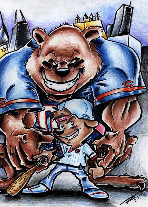 Sports Greeting Card featuring the drawing Bears And Cubs by Big Mike Roate