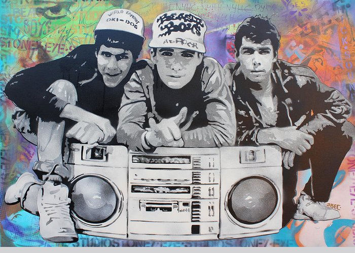 Stencil Art Greeting Card featuring the painting Beastie Boys by Josh Cardinali