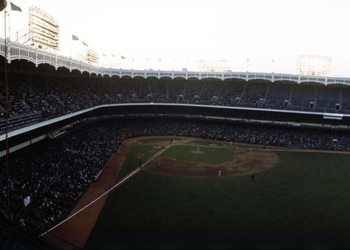 Marvin Newman Greeting Card featuring the photograph Beautiful Right Field View Of Old Yankee Stadium by Retro Images Archive