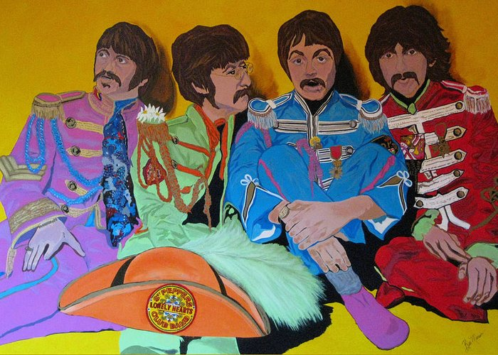 Beatles Greeting Card featuring the painting Beatles-lonely Hearts Club Band by Bill Manson