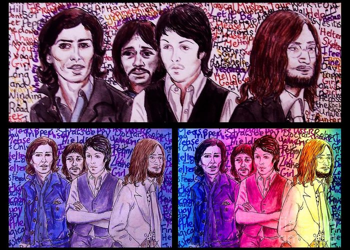 The Beatles Greeting Card featuring the mixed media Rainbow Beatles Design Trio by Joan-Violet Stretch