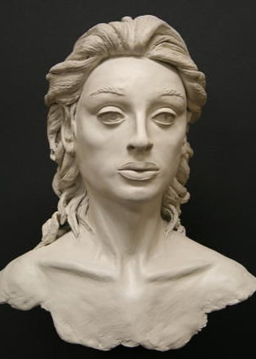 Bust Greeting Card featuring the sculpture Beatrix by Monika Degan