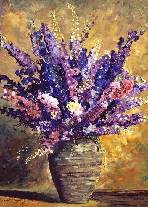 Still Life Greeting Card featuring the painting Beaujolais Bouquet by David Lloyd Glover