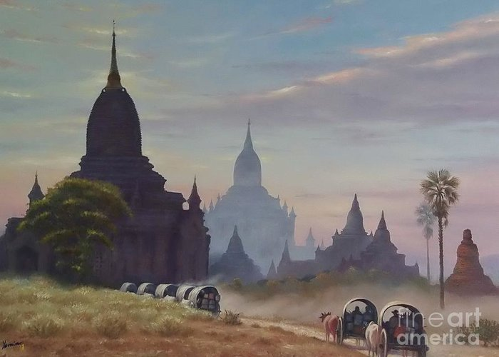 Landscape Greeting Card featuring the painting Beautiful Bagan by Ye Htut