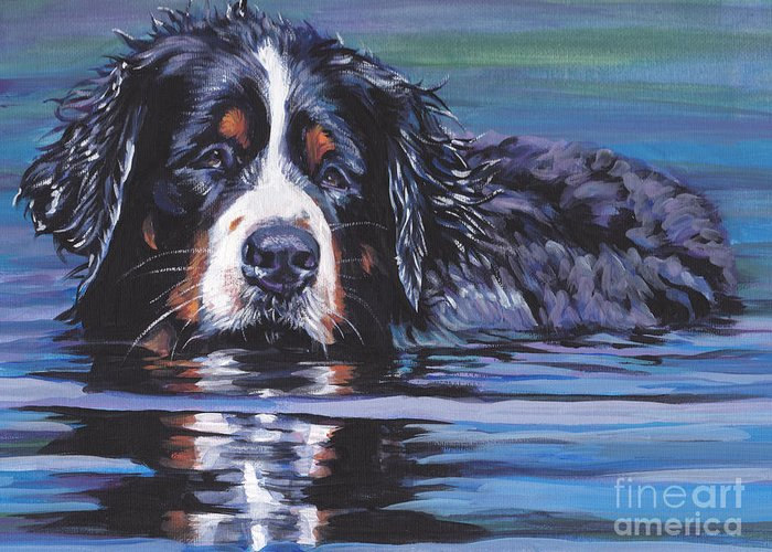 Bernese Mountain Dog Greeting Card featuring the painting Beautiful Berner by Lee Ann Shepard