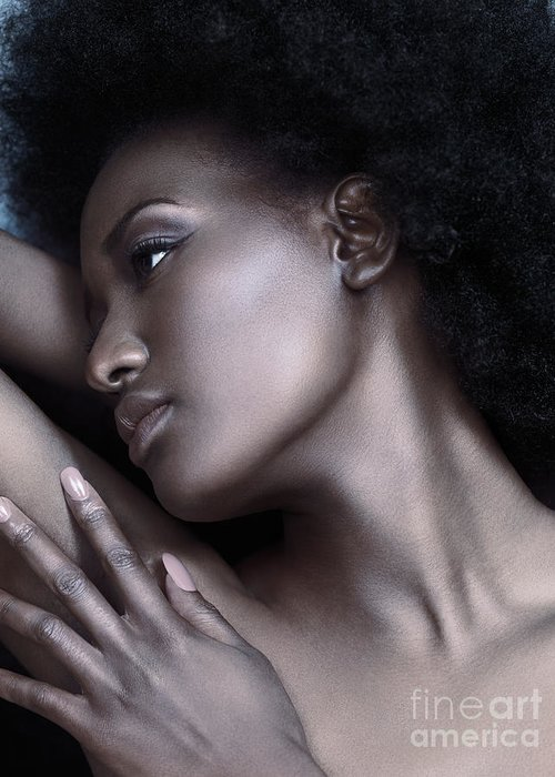 Beauty Greeting Card featuring the photograph Beautiful Black Woman Face With Shiny Silver Skin by Maxim Images Prints