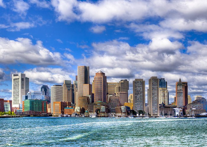 Boston Greeting Card featuring the photograph Beautiful Boston Skyline From The Harbor by Mark E Tisdale