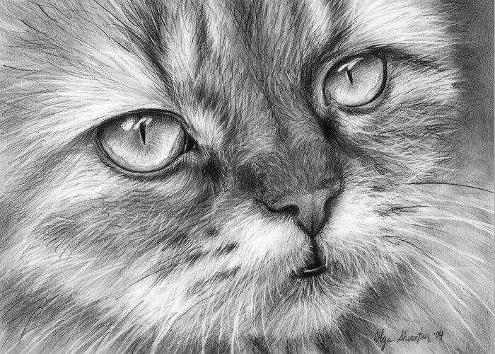Beautiful Cat Greeting Card featuring the drawing Beautiful Cat by Olga Shvartsur