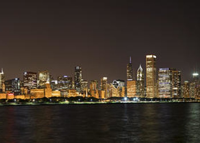 3scape Photos Greeting Card featuring the photograph Beautiful Chicago Skyline With Fireworks by Adam Romanowicz