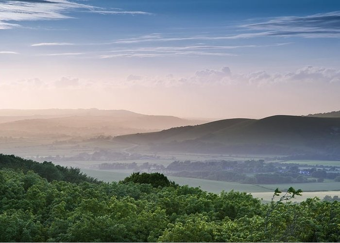 Landscape Greeting Card featuring the photograph Beautiful English Countryside Landscape Over Rolling Hills by Matthew Gibson