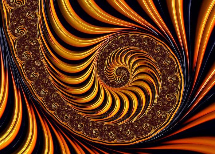 Fractal Greeting Card featuring the digital art Beautiful Golden Fractal Spiral Artwork by Matthias Hauser