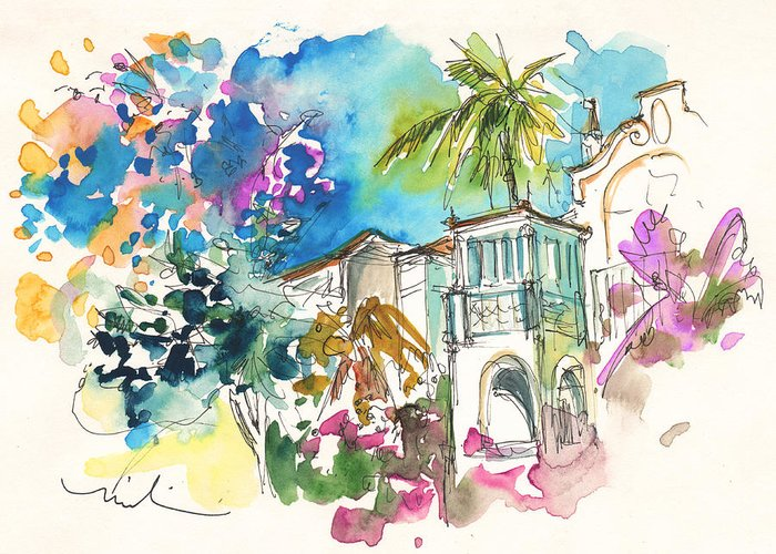 Travel Greeting Card featuring the painting Beautiful House In Sintra by Miki De Goodaboom
