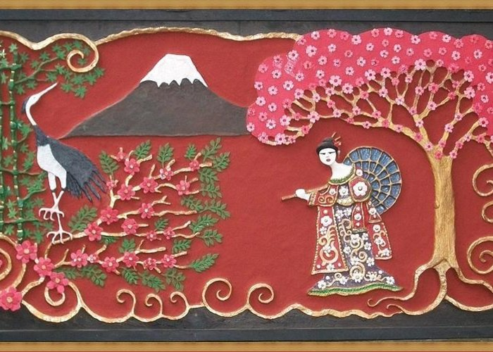 Handmade Papier Mache Greeting Card featuring the mixed media Beautiful Japan by Otil Rotcod
