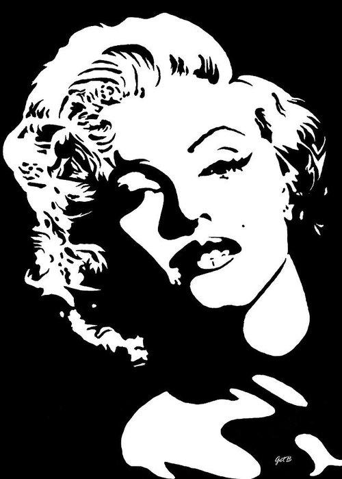 Marilyn Monroe Original Pop Art Greeting Card featuring the painting Beautiful Marilyn Monroe original acrylic painting by Georgeta Blanaru