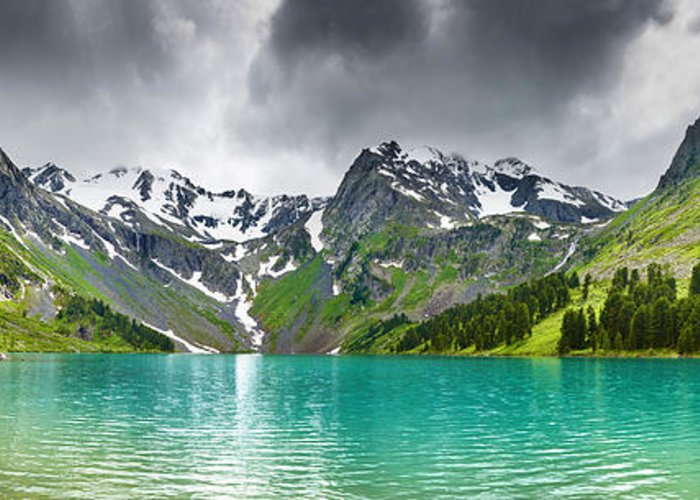 Beautiful Mointain Greeting Card featuring the photograph Beautiful Mointain And Lake Art by Boon Mee