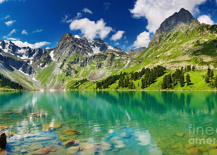 Beautiful Mointain Greeting Card featuring the photograph Beautiful Mointain And Lake by Boon Mee