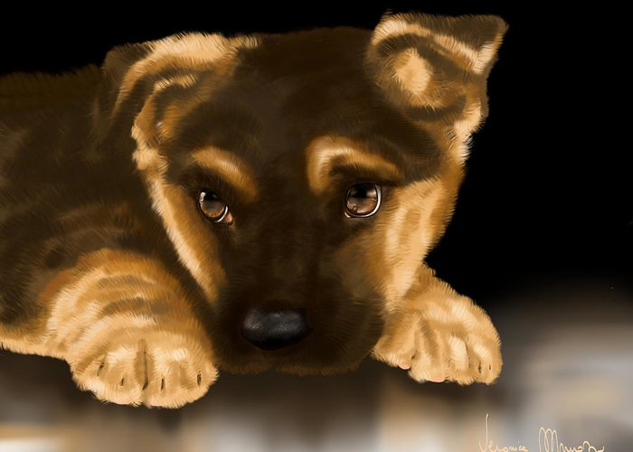Digital Greeting Card featuring the painting Beautiful Puppy by Veronica Minozzi