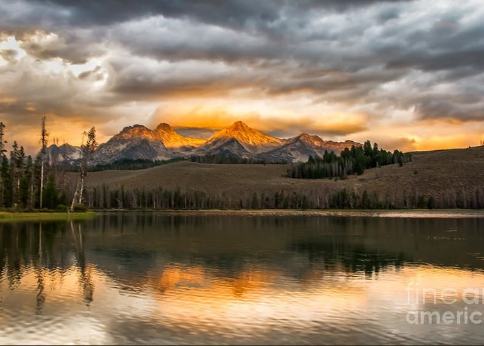 Rocky Mountains Greeting Card featuring the photograph Beautiful Sunrise On Little Redfish Lake by Robert Bales