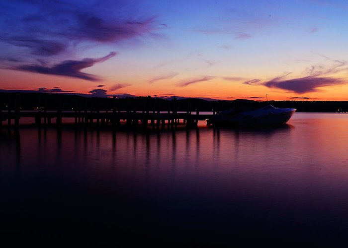 Boat;dock;sunset;lake Greeting Card featuring the photograph Beautiful Sunset by Martin Popov