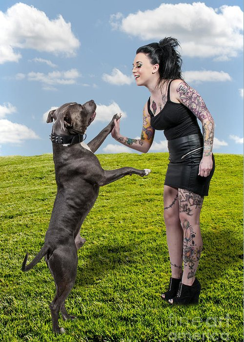 Adult Greeting Card featuring the photograph Beautiful Woman And Pit Bull by Rob Byron