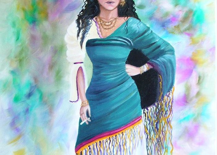 Gypsy Woman Greeting Card featuring the painting Beautiful Zoli by Lora Duguay