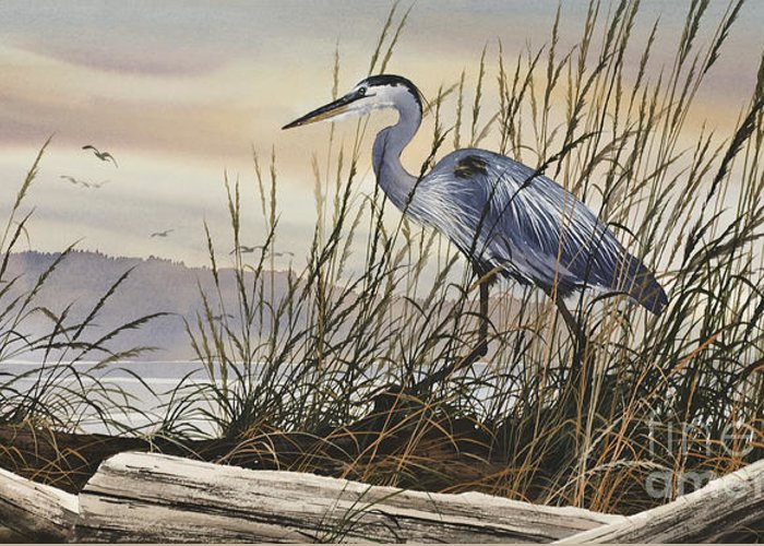 Heron Fine Art Prints Greeting Card featuring the painting Beauty Along The Shore by James Williamson