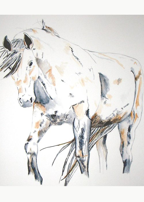 Horse Greeting Card featuring the painting Beauty by Crystal Hubbard