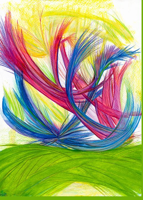 Abstract Greeting Card featuring the drawing Beauty Gives Joy by Kelly K H B