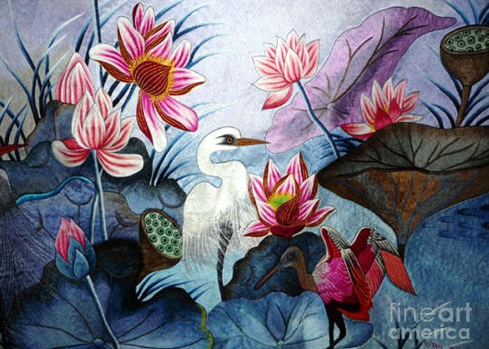 Lotus Greeting Card featuring the tapestry - textile Beauty Of The Lake Hand Embroidery by To-Tam Gerwe