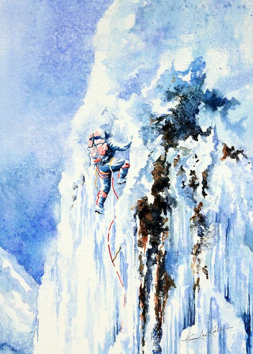 Ice Climbing Greeting Card featuring the painting Because It's There by Hanne Lore Koehler