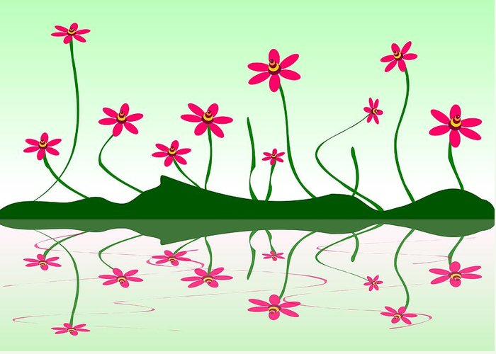 Abstract Greeting Card featuring the digital art Bee Flowers by Anastasiya Malakhova
