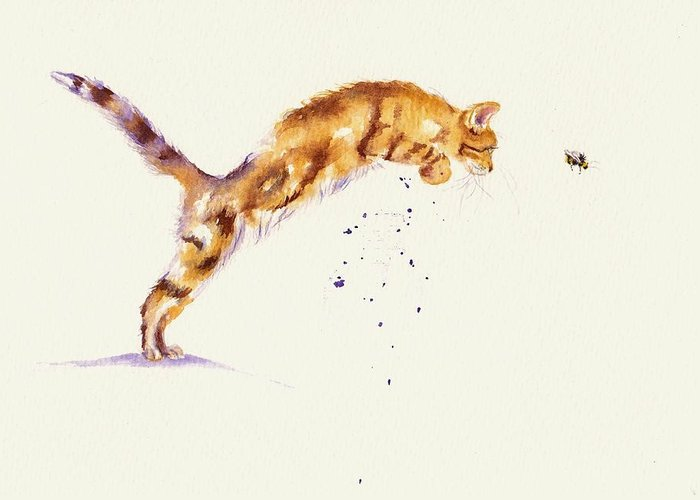 Cat Greeting Card featuring the painting Bee-line by Debra Hall