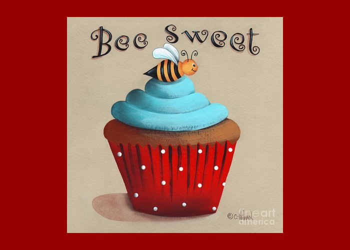 Art Greeting Card featuring the painting Bee Sweet Cupcake by Catherine Holman