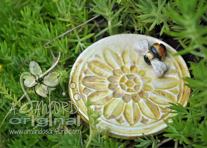 Handbuilt Greeting Card featuring the sculpture Bee-ware by Amanda Sanford