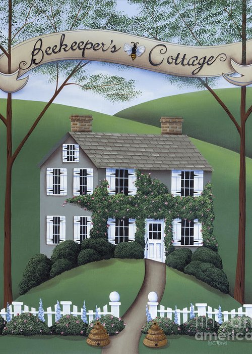 Art Greeting Card featuring the painting Beekeeper's Cottage by Catherine Holman