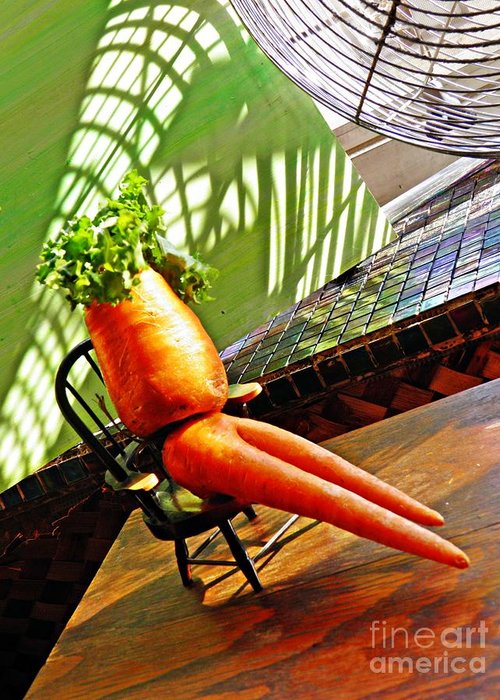 Carrot Greeting Card featuring the photograph Beer Belly Carrot On A Hot Day by Sarah Loft