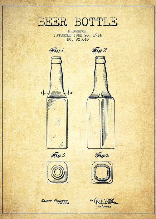 Bottle Patent Greeting Card featuring the drawing Beer Bottle Patent Drawing From 1934 - Vintage by Aged Pixel