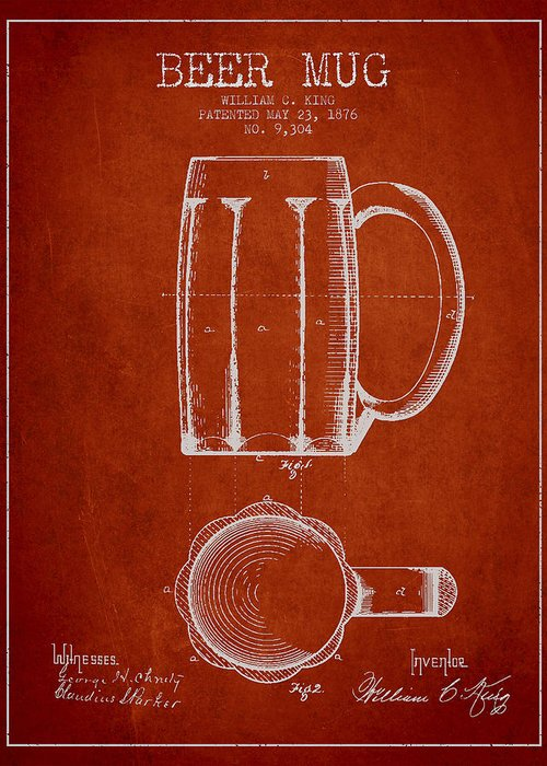 Beer Mug Greeting Card featuring the drawing Beer Mug Patent From 1876 - Red by Aged Pixel