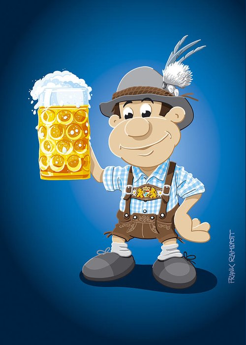 Frank Ramspott Greeting Card featuring the digital art Beer Stein Lederhosen Oktoberfest Cartoon Man by Frank Ramspott