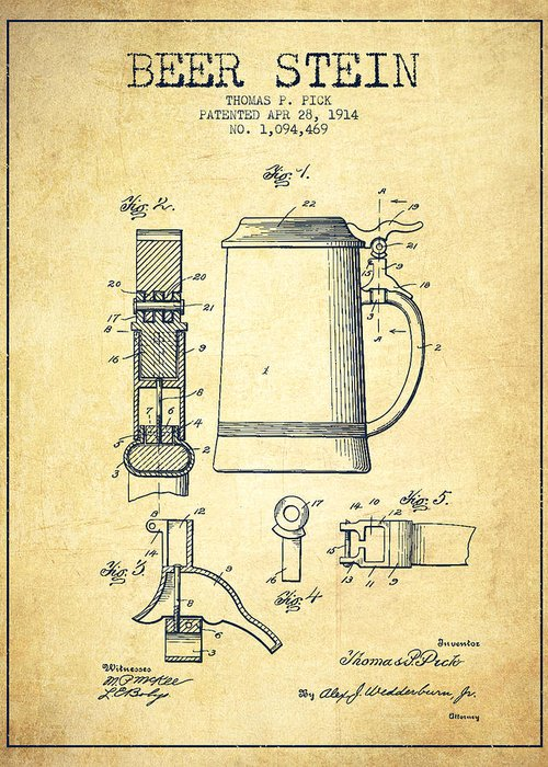 Beer Mug Greeting Card featuring the drawing Beer Stein Patent From 1914 -vintage by Aged Pixel