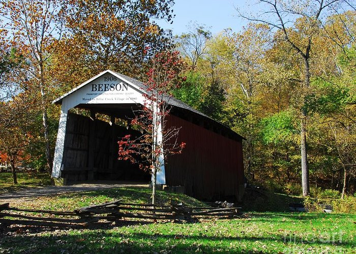 Beeson Covered Bridge 2 Greeting Card featuring the photograph Beeson Covered Bridge 2 by Mel Steinhauer