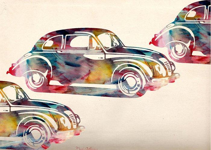 Car Greeting Card featuring the digital art Beetle Car by Mark Ashkenazi