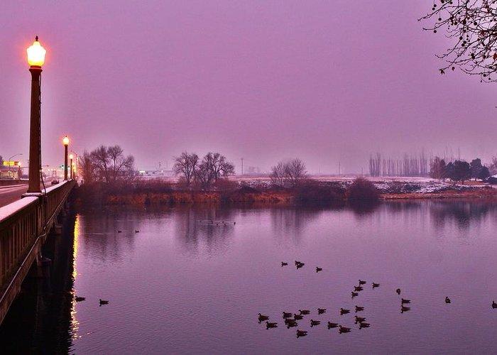 Bridge Greeting Card featuring the photograph Before Sunrise On The Bridge by Lynn Hopwood
