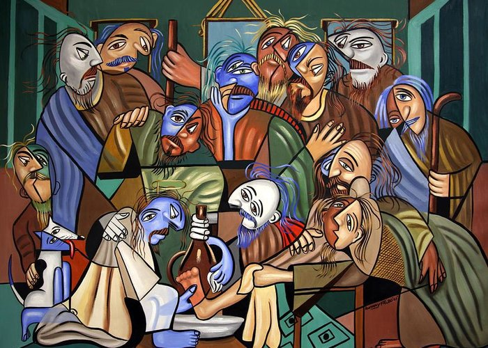 Before The Last Super Greeting Card featuring the painting Before The Last Supper by Anthony Falbo