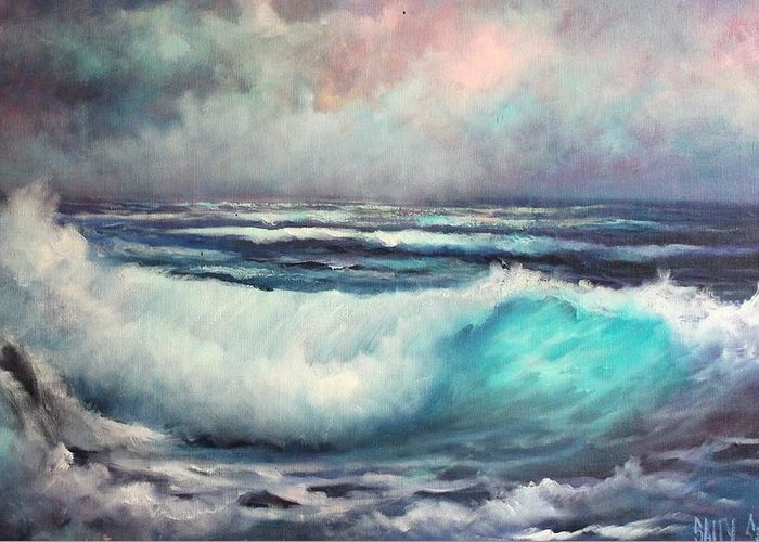 Seascape Greeting Card featuring the painting Before The Storm by Sally Seago