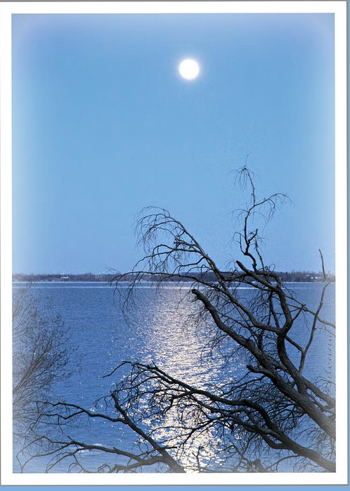 Beginning Birth Dslr Canon 60d Camera First Shot Image Photograph Moonlight Lake Ontario Millhaven Canada March 26/2013 Reflections Water Blue Seascape Skyscape Landscape Greeting Card featuring the digital art Beginnings by Donna Brown