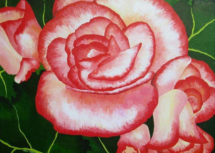 Begonia Greeting Card featuring the painting Begonias by Carol Sabo