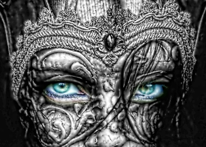 Behind Blue Eyes Greeting Card featuring the photograph Behind Blue Eyes by Mo T