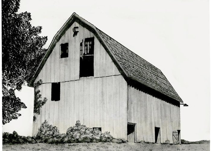 Pencil Barn Drawing Greeting Card featuring the drawing Behind The Barn by Todd Spaur