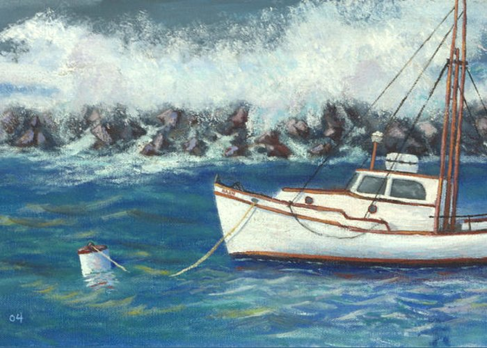 Ocean Greeting Card featuring the painting Behind The Breakwall by Jerry McElroy